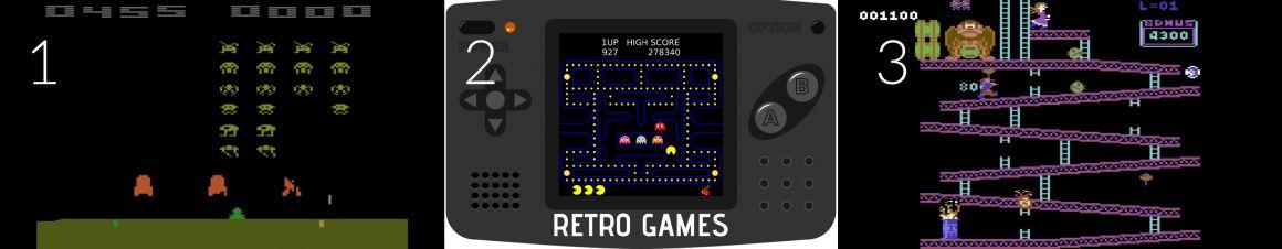 Top jeux vidéos retro: Space Invaders - Pacman - Donkey Kong